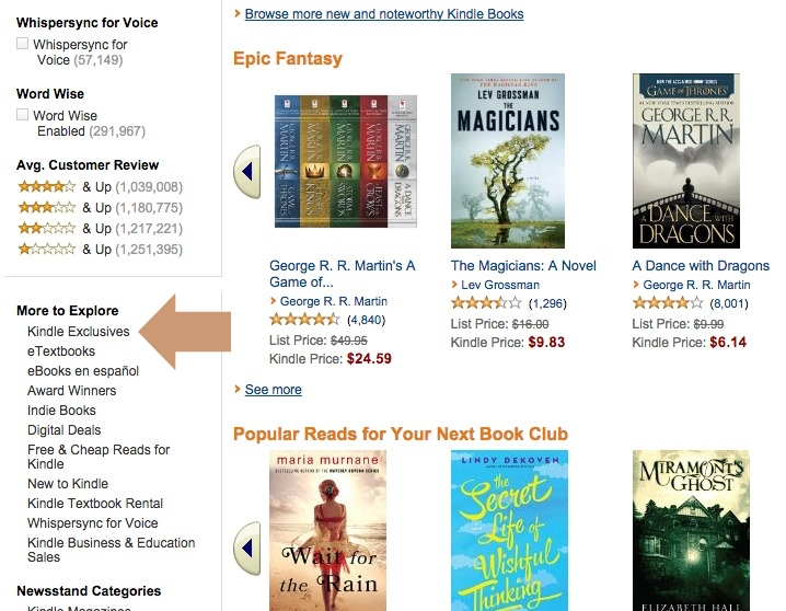 Kindle Ebook Exclusives - link from Kindle Store