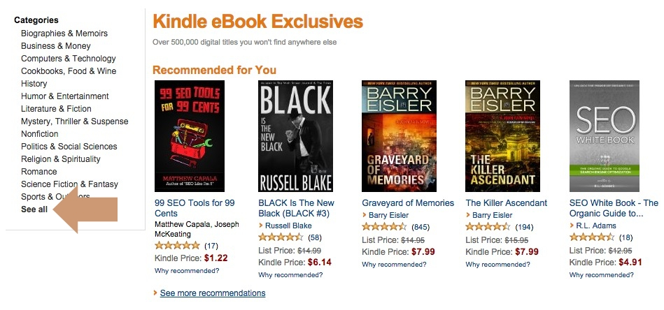 Kindle Ebook Exclusives - See All