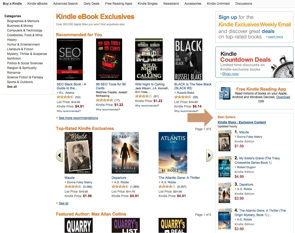 Kindle Ebook Exclusives Top 10 widget