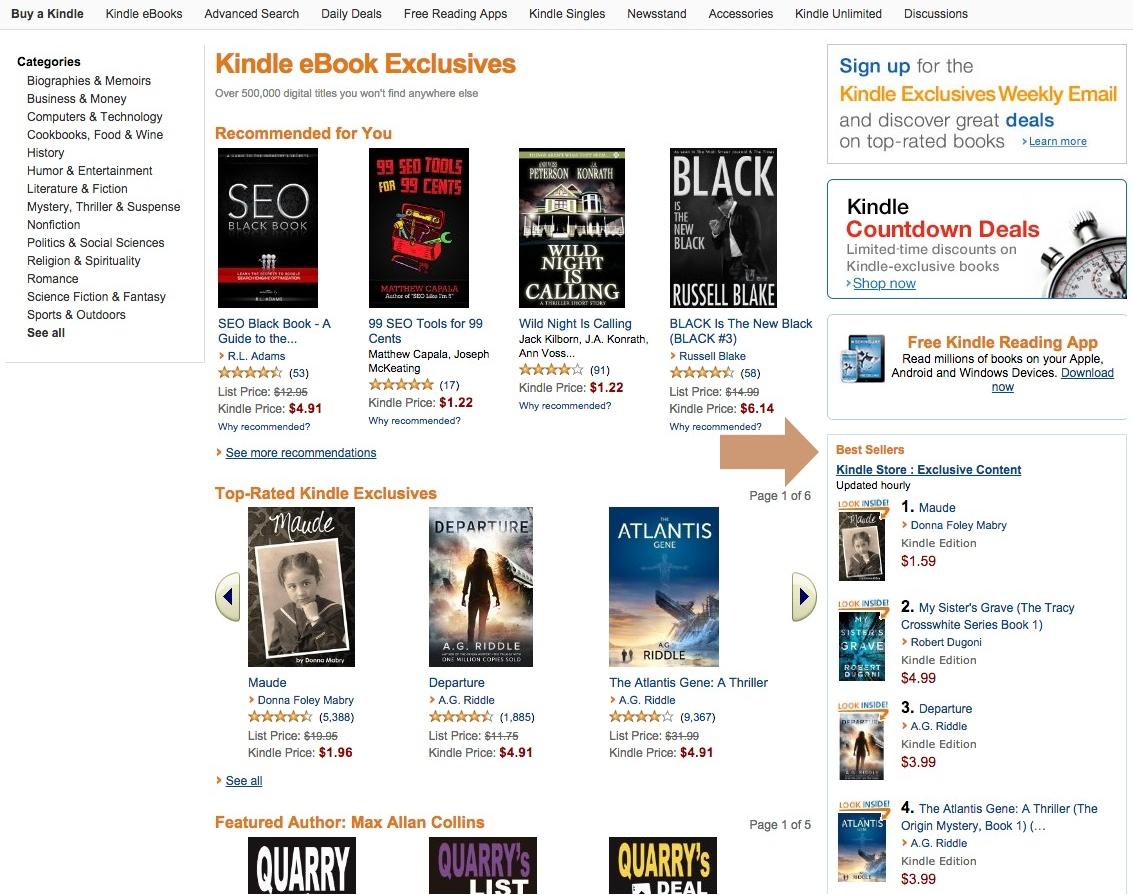 Kindle Ebook Exclusives Top 10 widget