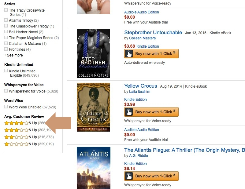 Kindle Ebook Exclusives - filter books by average customer review