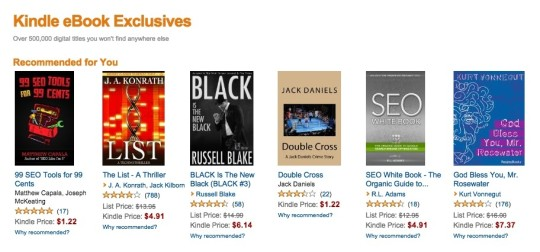 Kindle ebook exclusives - landing page