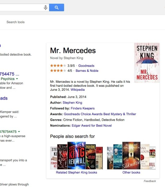 Google search - card with book details