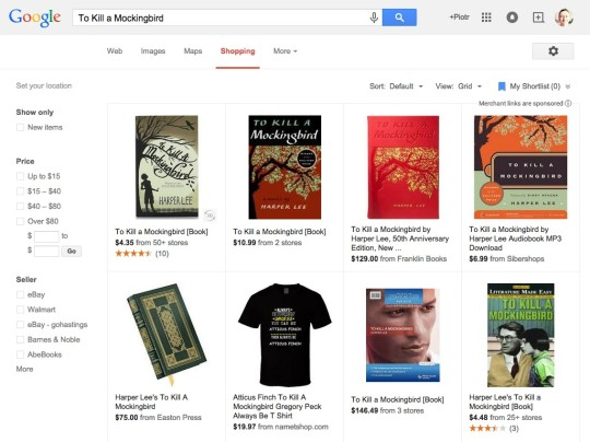 Google search - comparing book prices