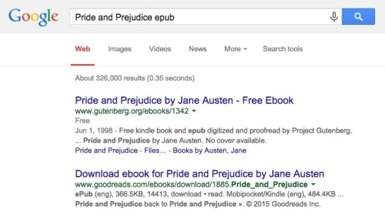 Google search - finding free ebooks