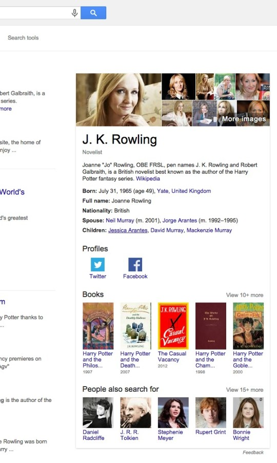Google search - rich info card about J.K. Rowling