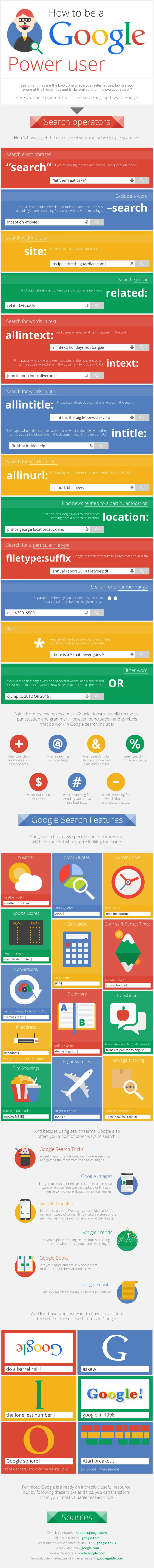Google search tips and tricks - infographic