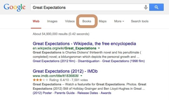 Google search - using Books tab
