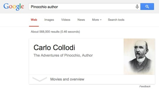 Google web search - finding the author of the book