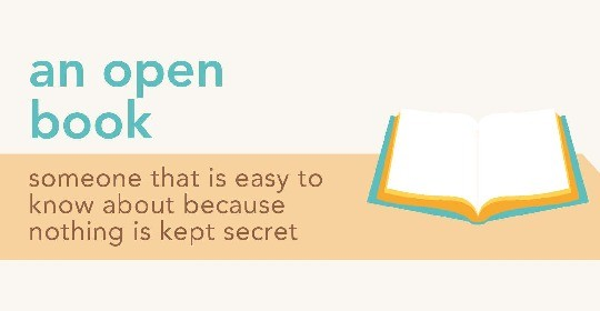 Idioms about books - an open book