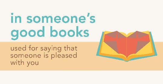 Idioms about books - in someones good books