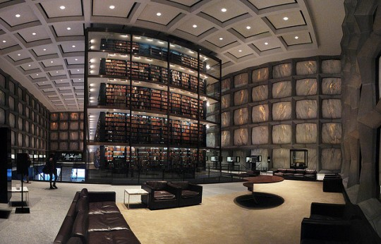 Yale University Beinecke Rare Book Library - a large glass tower that is the central core of the building