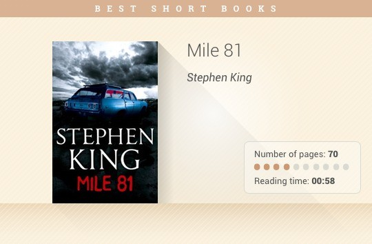 Best short books - Mile 81 - Stephen King
