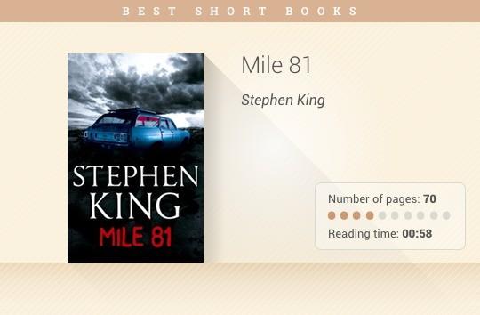 Best short books - Mile 81 - Stephen King