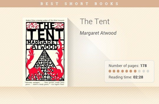 Best short books - The Tent - Margaret Atwood