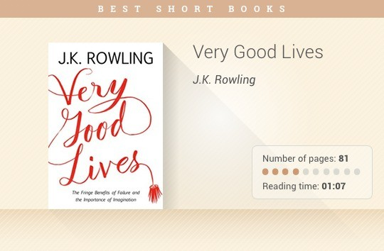 Best short books - Very Good Lives - J.K. Rowling