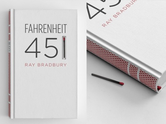 Fahrenheit 451 - creative book cover with a match included