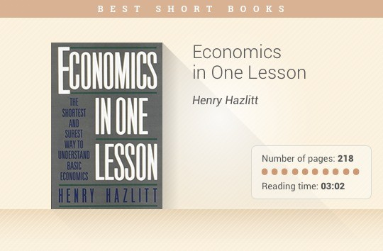 Best short books - Economics in One Lesson - Henry Hazlitt