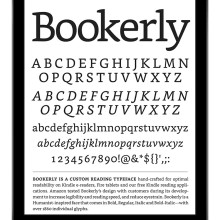 Bookerly font character list on a screen of a tablet