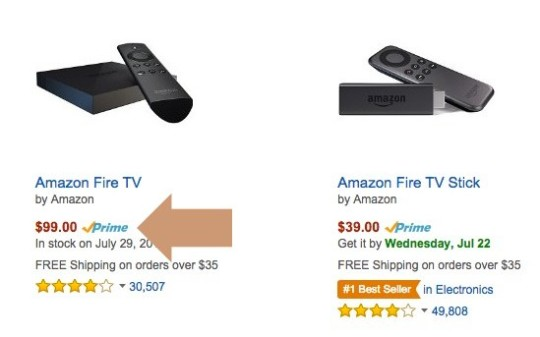 Amazon Prime - example of eligible products in Electronics category