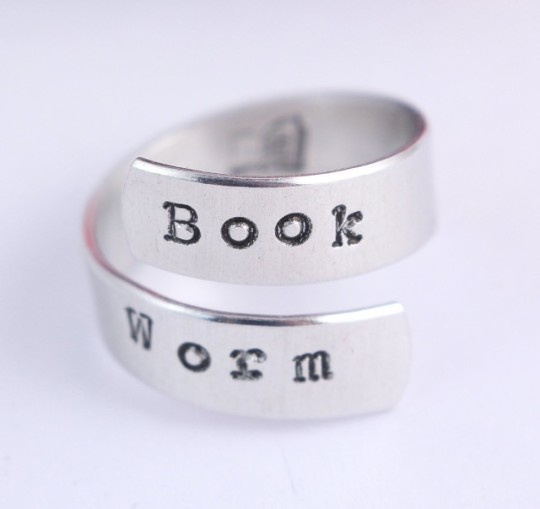 Gifts for book lovers; Book Worm Wrap Ring