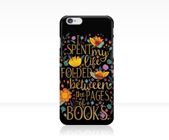 "Gifts for book nerds: ""Folded Between the Pages of Books"" iPhone Case"