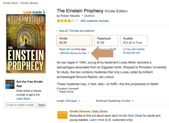 How to find Prime eligibility on a page of a Kindle ebook