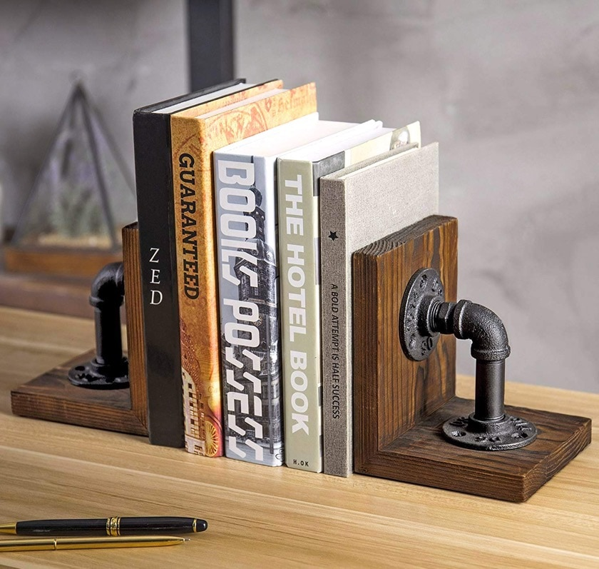 Industrial pipe & rustic wood bookends