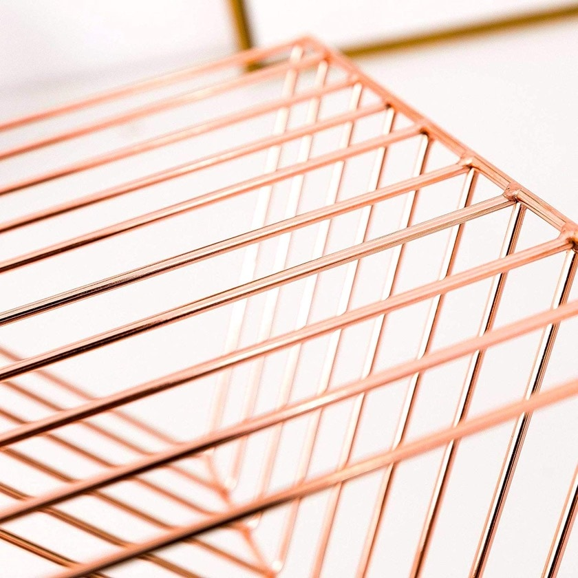 Minimalist metal bookends in rose gold