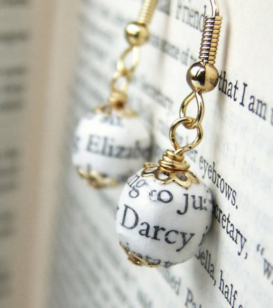 Pride and Prejudice Bead Earrings - gifts for booklovers