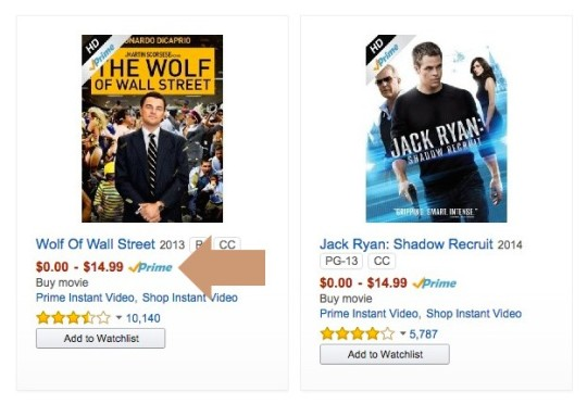 Amazon Prime eligible videos are clearly marked with a small Prime logo