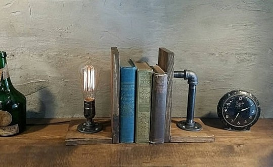 Steampunk bookends and lamp