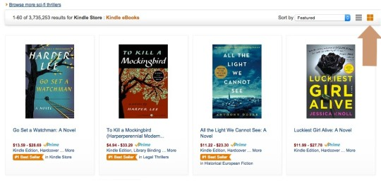 Switch the view to grid to see Prime eligible Kindle ebooks