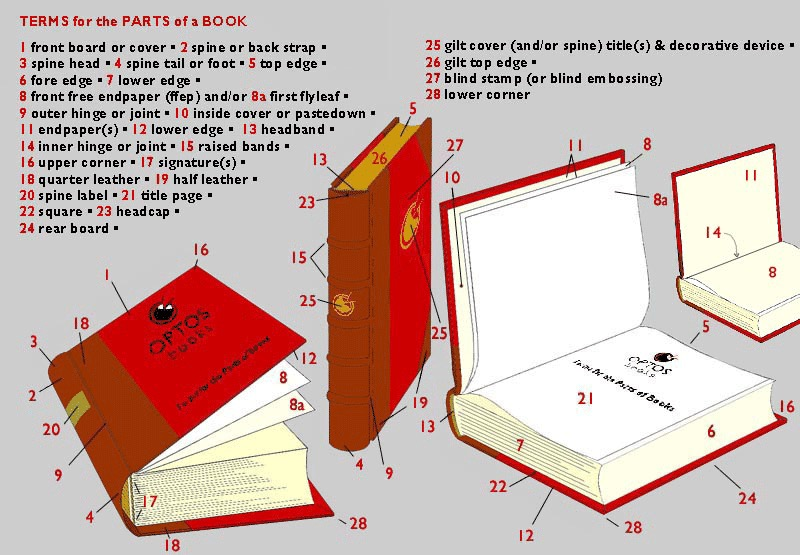 Book diagrams - terms for the parts of a book