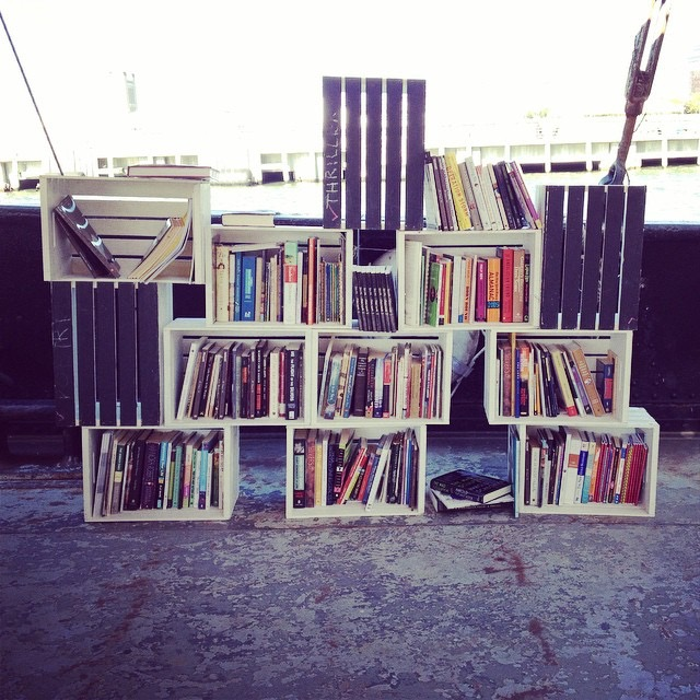 Free books were available aboard the Floating Library in October 2014