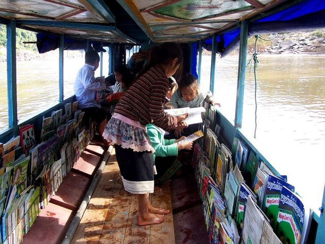 Inside Lao Children's library boat