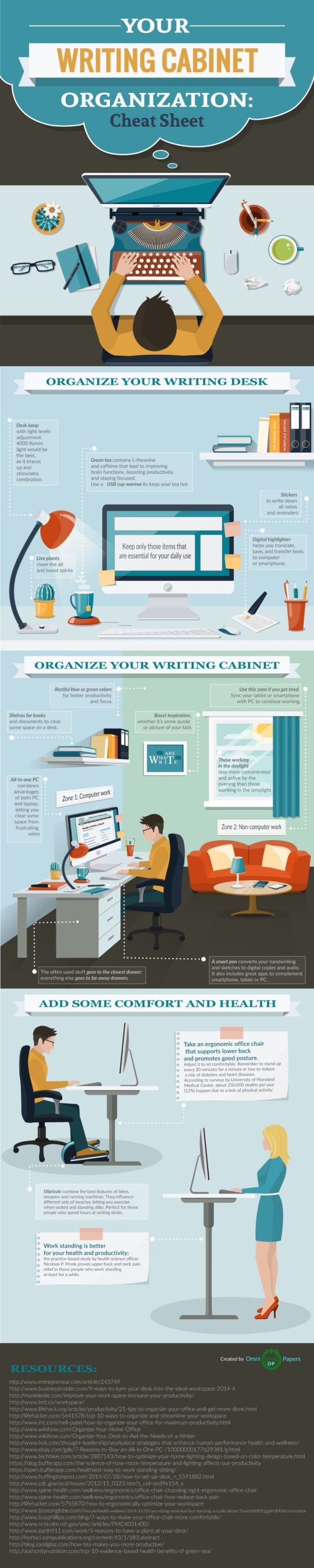Tips to organize a writing desk #infographic