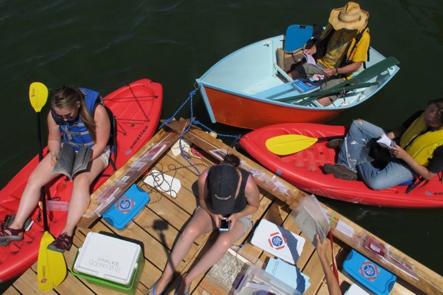 The Floating Library is a bookshop on a raft that you can approach by a canoe