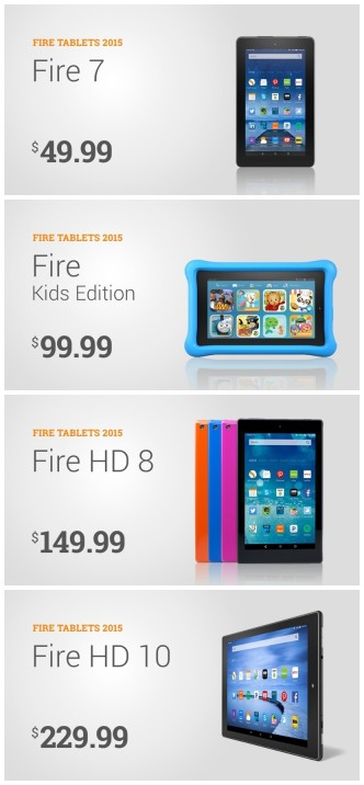 Amazon Fire tablets 2015