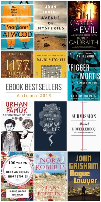 Autumn 2015 book bestsellers for Kindle, Nook, Kobo, and iBooks
