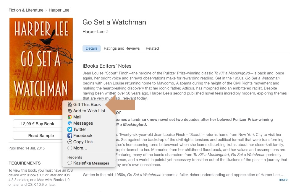 Gift a book from the iBooks Store - an option on a product page