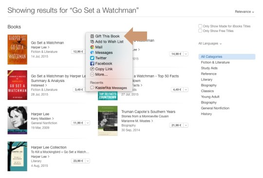 Gift a book from iBooks Store - an option on search results page