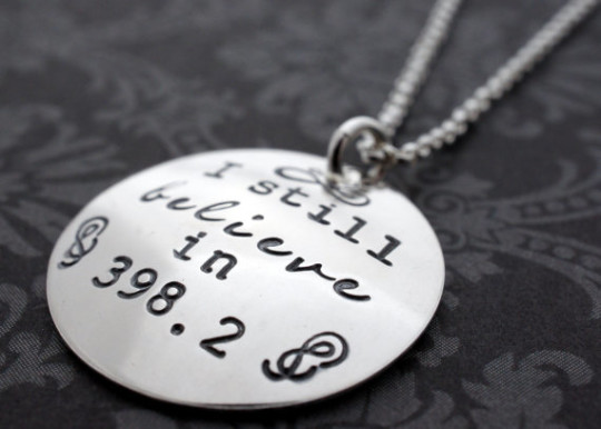 """I Still Believe in 398.2"" Library Necklace"