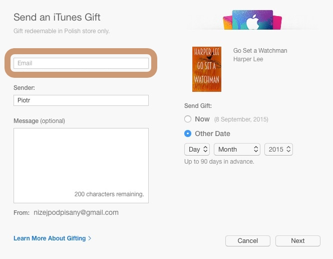 Gift a book from the iBooks Store - dialog box