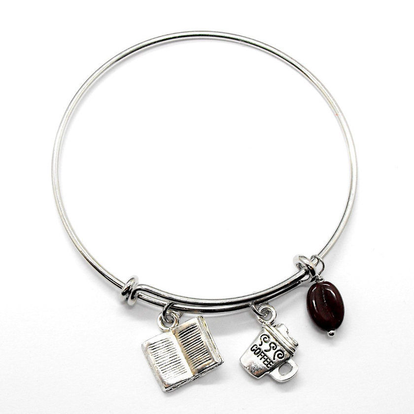 Coffee Book Lover's Bangle Bracelet - bookish gifts