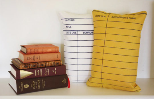 Library due date card pillows