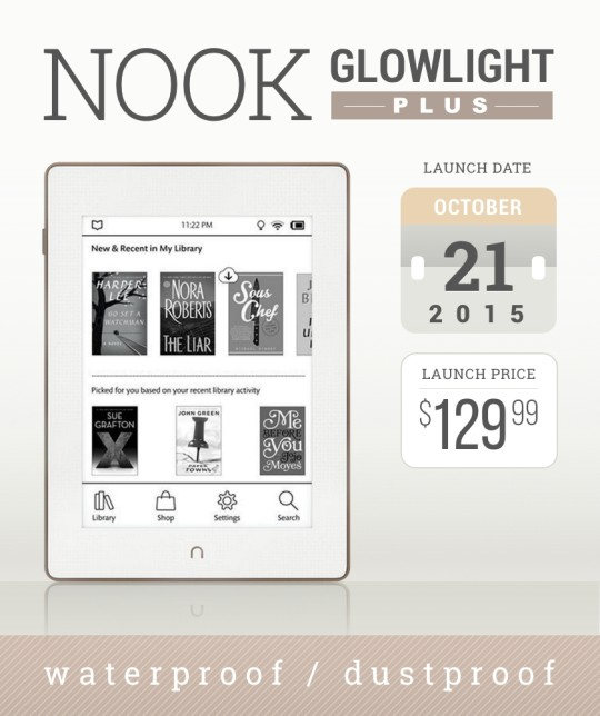 Nook GlowLight Plus is a 2015 waterproof and dustproof e-reader from Barnes & Noble