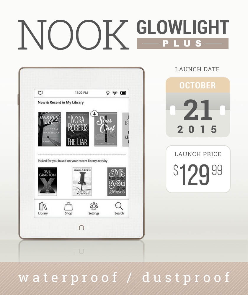 Nook GlowLight Plus is a waterproof and dustproof e-reader from Barnes & Noble
