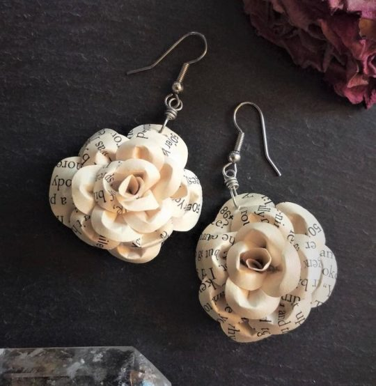 Upcycled Book Lover's Ivory Rose Dangle Earrings