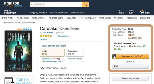 Kindle Countdown Deals - a detail page of the included Kindle ebook